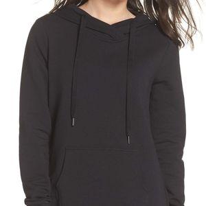 zella black drawstring fleece lined hoodie